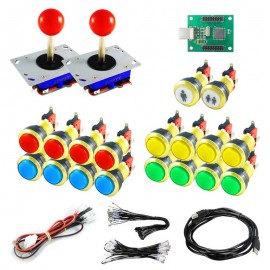 Kit Joystick Arcade Zippyy - 18 gold illuminated buttons - Xin-Mo USB encoder