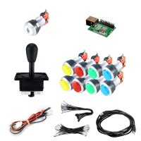 Kit Joystick Arcade Happs - 9 silver illuminated buttons - Xin-Mo USB encoder