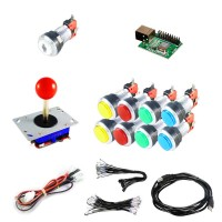 Kit Joystick Arcade Zippyy - 9 silver illuminated buttons - Xin-Mo USB encoder