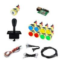 Kit Joystick Arcade Happs - 9 gold illuminated buttons - Xin-Mo USB encoder