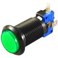 Black Green LED button