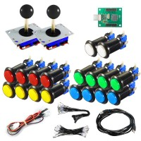 Kit Joystick Arcade Zippyy - 18 black illuminated buttons - Xin-Mo USB encoder