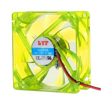 Yellow LED cooling fan 80x80mm