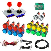 Kit Joystick Arcade - 18 translucent illuminated buttons - Xin-Mo USB encoder