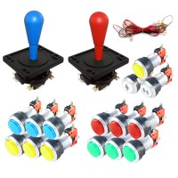 Kit Bat-top Joysticks  - LED Silver Push buttons