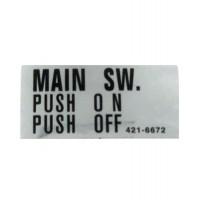 Sega Sticker Main Switch P/on P/off
